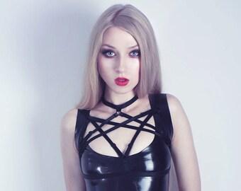 Hex Harness, Hexagram body cage bra top, goth lingerie