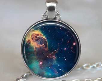 Carina Nebula necklace, Carina nebula pendant Hubble space photography jewelry NASA photo jewelry Mystic Mountain keychain