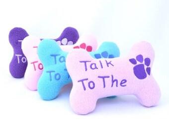 Dog Toy, Fleece Dog Bone, Toy Dog Bone, Embroidered Dog Bone