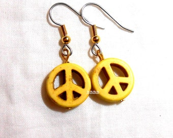 Yellow Peace Magnesite Earrings - Surgical Steel French Hooks Magnesite Howlite Gemstone Beads