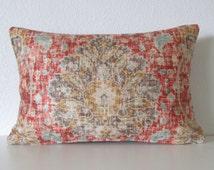 Ethan Allen Chakra Cinnabar sariz cerise red brown blue distressed velvet persian medallion damask decorative pillow cover