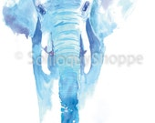 Beautiful Blue Elephant - Wild Animal Watercolor Print