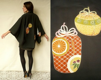 Vintage Black Novelty Pattern Silk Japanese Kimono Duster Jacket Haori