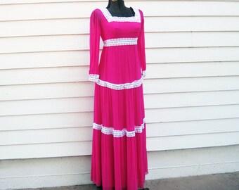 1960s Maxi dress silk chiffon Lace Romantic hot pink S