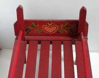 Free Shipping 1940s Dolls Bed Hand Painted Headboard & Footboard