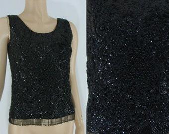 SALE Vintage Sixties Beaded Top - 1960s Black Sequined Blouse - 60s Beaded Sweater - Vintage Sequined Tank