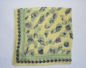 Vintage Hand Painted Hanky, Summer Sun, Blue Green Pink Sea Shells on Yellow Silk, Made in Japan 1960s