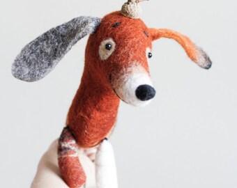 Dachshund - Branko,  Felt dog Art Puppet Stuffed Felt toy Lovely plush Dog Marionette Felted Cute . brown orange autumn fall.