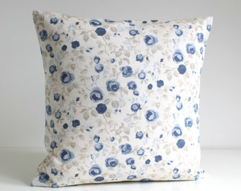 Decorative Pillow Cover, Shabby Chic Cushion Cover, Flower Pillow Sham, 16 Inch Accent Pillow, 16x16 Sofa Pillow - Mini Flowers Blue