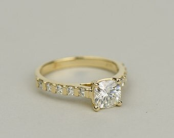 Cushion Cut Moissanite Engagement Ring - Cathedral Style Setting. Bar Set Accent Stones. 14k, 18k Yellow, White & Rose Gold