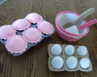 Crochet Cupcake Baking Set, Made to Order