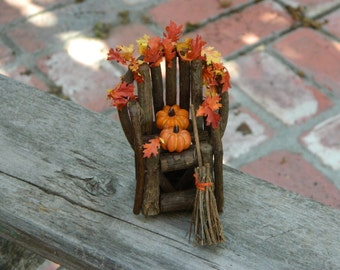 Fairy Garden Miniature Twig Chair with pumpkins and fall leaf garland with a twiggy broom Fall Chair Ensemble