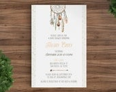 Shower invitation Baby or Bridal Printable - Dreamcatcher, Tribal, Aztec, Arrow, Boho, woodsy, Camping Rustic, template, Boy, girl. (2025)