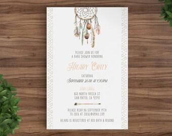 Shower invitation Baby or Bridal Printable - Dreamcatcher, Tribal, Aztec, Arrow, Boho, woodsy, Rustic, template, Boy, girl, wedding. (2025)