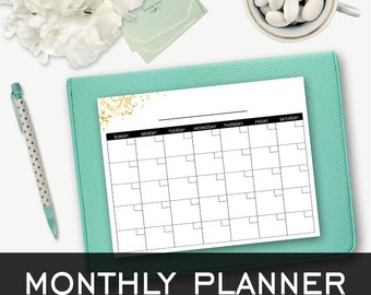 Printable Monthly Calendar - Black & Gold - Planner - Agenda - Sparkle Collection