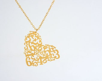 Gold Number Necklace, Gold Number, Gold Necklace, Number Necklace, Number Jewelry, Sideways Heart Pendant Necklace, Big Heart Necklace