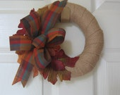 "Small Rustic Fall Wall Decor Door Wreath 9"" Wreath Small Space FFFOFG Burlap and Fall Leaves Wall Art Decor SnowNoseCrafts"
