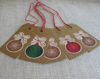 Christmas Ornament Gift Tags, Set of FIVE, Gift Tags, Rustic Holiday Gift Tags, Gift Wrap, Gift Embellishment, Christmas Gift SnowNoseCrafts