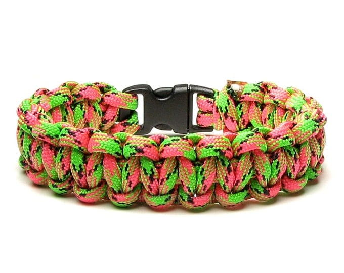 Paracord Bracelet Watermelon Pink Green Black Survival Accessory Fun Summer Fruit Food Outdoor Unisex Gift For Men Women Teen Hiking Camper