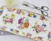 Gloria Fine Porcelain Bayrueth Sandwich Tray, Multi-Floral, 22K Gold, West-Germany