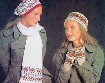 Fairisle hats Mitts & Scarf 1970s VINTAGE KNIT PATTERN, Boho Beret, Pillbox, Retro/Folk/Scottish/Shetland, Pdf from GrannyTakesATrip 0288