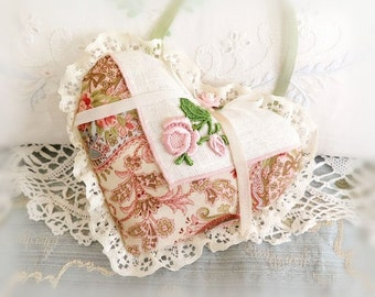 Sachet Heart Ornament 6 inch  Ruffled Heart, Vintage Linen & Paisy Fabrics, Folk Art, Handmade CharlotteStyle Decorative Folk Art