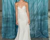 Mermaid Wedding Dress, Lace and Hemp Silk Wedding Dress, Strapless Sweetheart Neckline Eco Friendly, long train, lace wedding dress