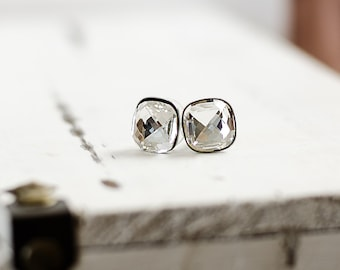 Cushion Earrings | Clear Crystal Stud Earrings | Cushion Crystal Earrings | Square Swarovski Crystal Stud Earrings | Faceted Jewel Earrings
