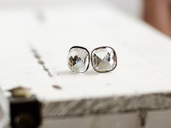 Cushion Earrings | Clear Crystal Stud Earrings | Cushion Crystal Earrings | Square Swarovski Crystal Stud Earrings | Faceted Jewel Earrings