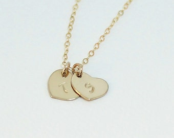 Dainty Personalized Heart Necklace / Two Hearts Necklace / Initial Necklace / 14kt Goldfilled / Hand Stamped Jewelry