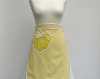 Pale yellow half apron with polkadot heart pocket and white binding - women's half apron