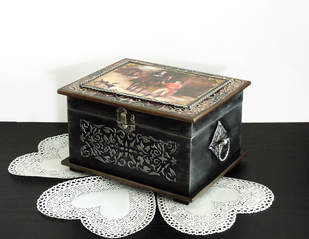 big hand painted antique jewelry box black silver box. Black Bedroom Furniture Sets. Home Design Ideas
