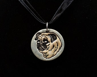 Fawn Pug on Celdaon Green - Ceramic Pendant
