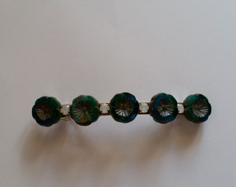 Turquoise Green Flower Opal Crystal French Barrette, for weddings, parties, special occasions