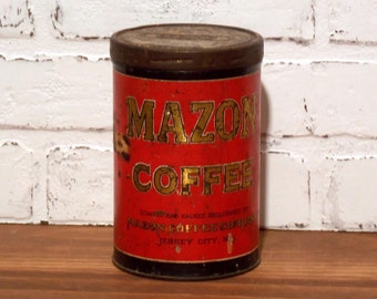 Vintage 1920s Mazon Coffee Can 1 Pound with twist lid