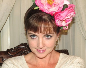 VINTAGE ROSES Pink Garden Style Headdress Cabbage Roses