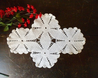 Hand Crocheted White Cross Doily