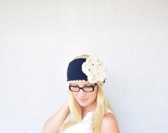 Knitted Flower Headband, Chunky Knitted Headband, Knitted Headband, Fall Fashion, Navy Headband, Flower Headband || The Katelyn