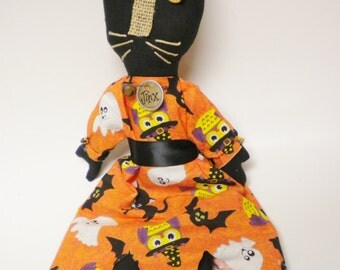 Primitive Cat Doll, Halloween Decor, Primitive Halloween Dolls, Cat Dolls, Country Farmhouse Decor