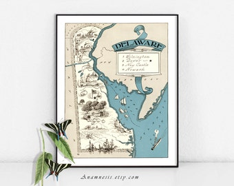 DELAWARE MAP - Instant Digital Download - printable vintage state map for framing, totes, cards, mugs, tags - fun pictorial map wall decor