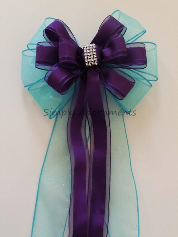 Turquoise Purple Bling Wedding Pew Bow Blue Purple Wedding Bow Ceremony Decoration Eggplant Turquoise Church Aisle Pew Bow
