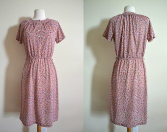 1970s Sears Dress, Floral Print, Casual Shortsleeve Dress, Salmon Pink
