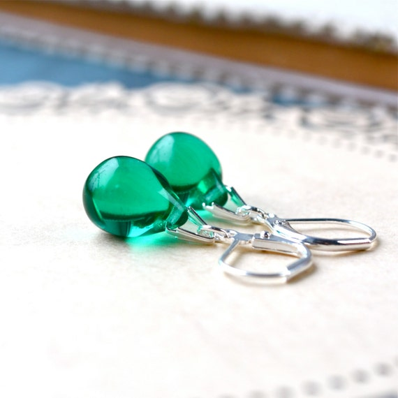 Green Drop Earrings, Dark Green Earrings, Tear Drop Earrings, Green Dangle Earrings, Glass Teardrop Earrings, Best selling jewelry, Etsy UK
