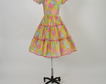 Vintage 1960s 60s Dress with Full Circle Tiered Skirt