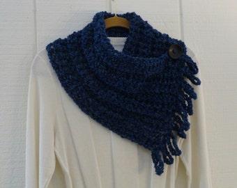 Crochet Button Fringe Scarf Dark Blue Navy Wood Button Neckwarmer Scarflette Cowl