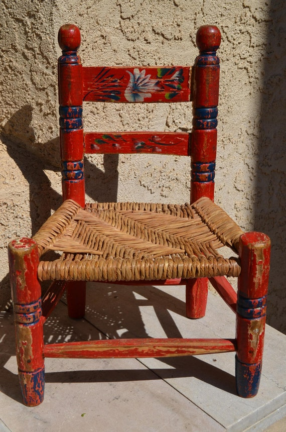 Vintage Hand Painted Red Mexican Child S Chair Wood Frame