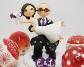 Honeymoon Jitters - Custom wedding cake topper With 2dogs
