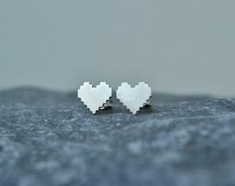 Pixel Heart Stud Earrings, Geeky Nerdy Zelda 8 Bit Digital Pixel Heart Earrings Video Game Nintendo Jewelry