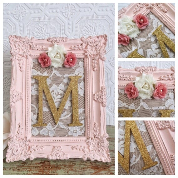 Nursery letter m baby girl nursery letters pink and gold for Baby room decoration letters