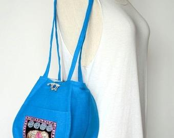 Blue Personal Effects Sequin Elephant Shoulder Bag Hemp Fabric Hmong Thailand EM603